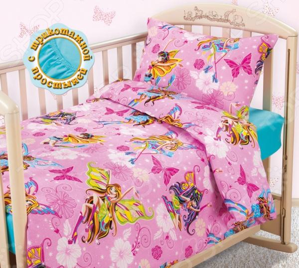 Ясельный комплект постельного белья Бамбино «Волшебницы»  трикотажной простыней