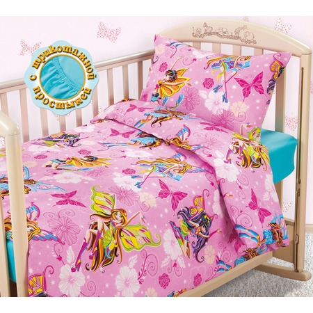 Купить Ясельный комплект постельного белья Бамбино «Волшебницы» с трикотажной простыней