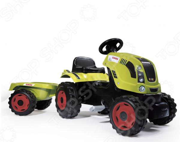 Машина-каталка Smoby CLAAS «Трактор педальный XL с прицепом» педальная машинка dolu педальный трактор экскаватор с прицепом