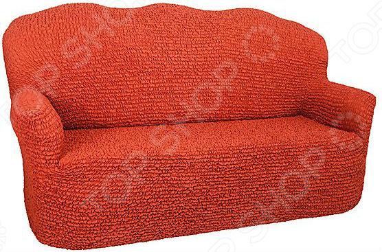 Натяжной чехол на двухместный диван Еврочехол Еврочехол «Микрофибра. Терракотовый»