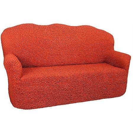 Купить Натяжной чехол на двухместный диван Еврочехол «Микрофибра. Терракотовый»