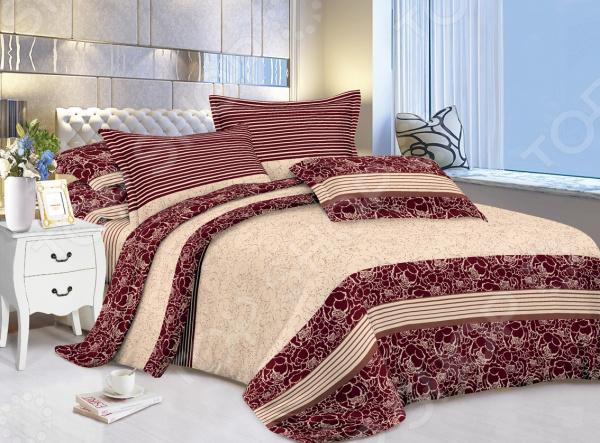 Комплект постельного белья «Сладкий сон». Евро. Рисунок: пионы бордо