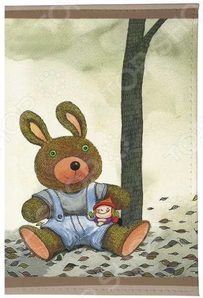 Обложка для паспорта кожаная Mitya Veselkov «Мишка и малышка»