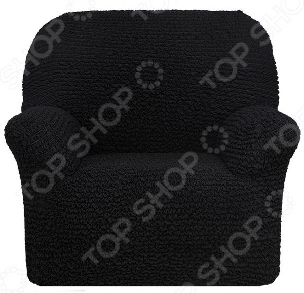 Zakazat.ru: Натяжной чехол на кресло Еврочехол «Микрофибра. Черный Жемчуг»