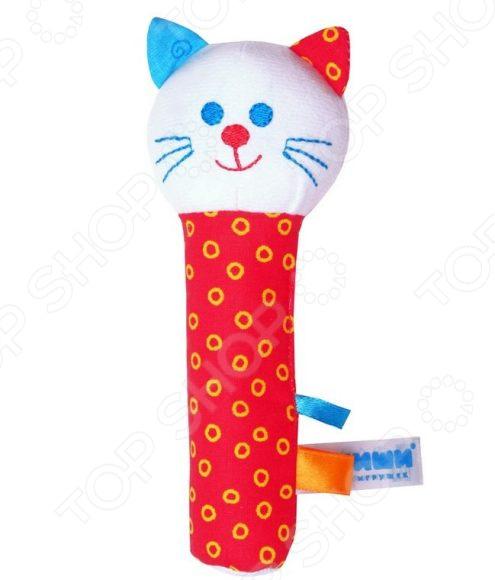 Мягкая погремушка Мякиши «Котик». В ассортименте мягкая игрушка погремушка котик