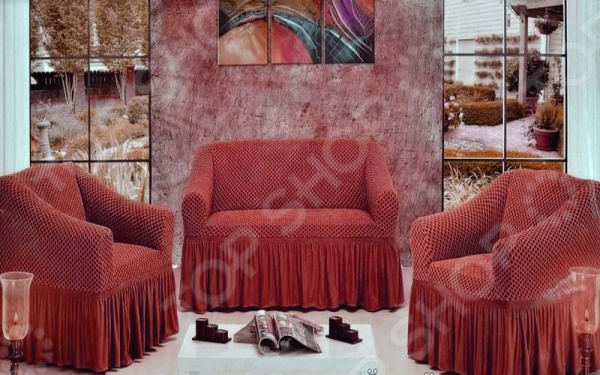 Натяжной чехол на трехместный диван и чехлы на 2 кресла Karbeltex «Престиж»