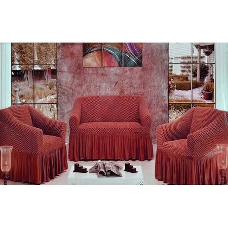 Купить Натяжной чехол на трехместный диван и чехлы на 2 кресла Karbeltex «Престиж»