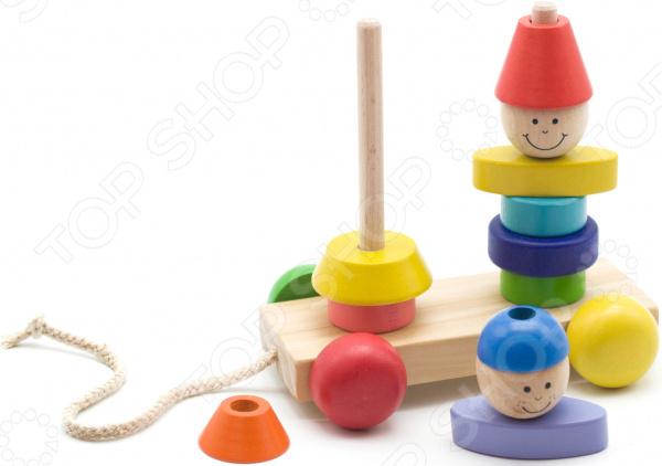 Игрушка развивающая для малыша Мир Деревянных Игрушек «Пирамидка-каталка: Мальчик и девочка» мир деревянных игрушек пирамидка каталка кот и собака д353