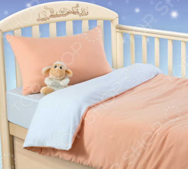 цена Ясельный комплект постельного белья ТексДизайн «Персиковое облако» онлайн в 2017 году
