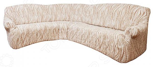 Натяжной чехол на классический угловой диван Еврочехол «Виста. Элегант Крем»