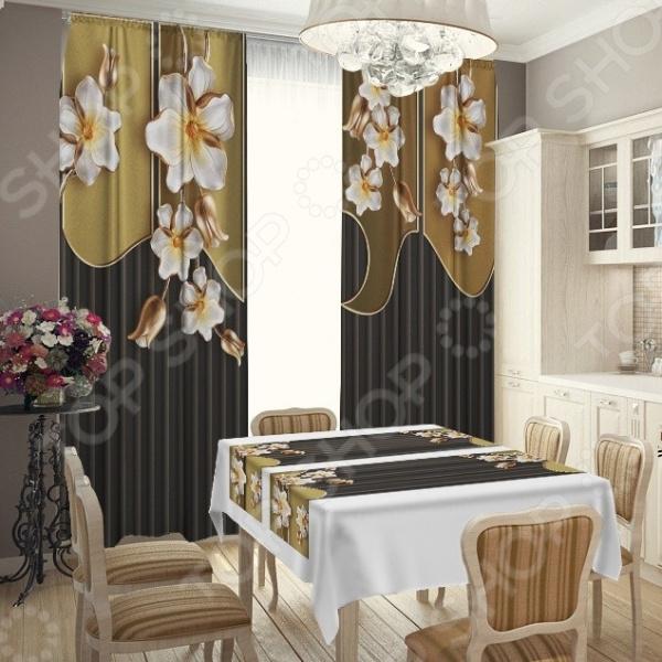 комплект шторы и тюль синель альянс плюс 1405 Фотокомплект для кухни: шторы, скатерть и две дорожки ТамиТекс «Скрытый нюанс»