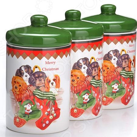 набор банок для сыпучих продуктов loraine красный узор 400 мл 3 шт 25862 Набор банок для сыпучих продуктов Loraine LR-27189