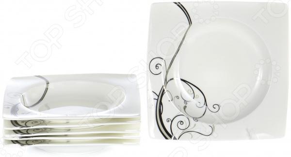 Набор суповых тарелок OlAff «Белый квадрат. Узоры» фруктовница olaff кетцаль узоры 2 яруса kr scp011 012 1056e
