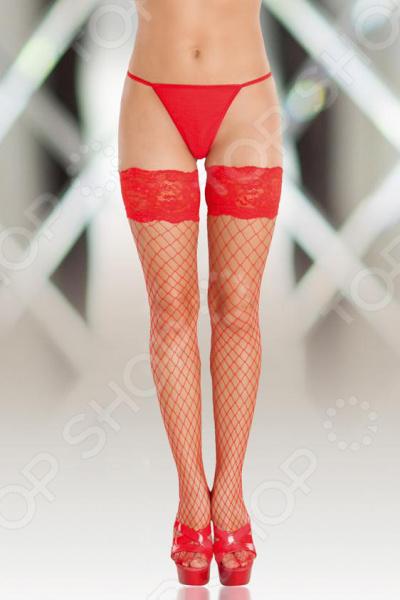 Чулки SoftLine Collection в крупную сетку. Цвет: красный эротические чулки ddl 8407