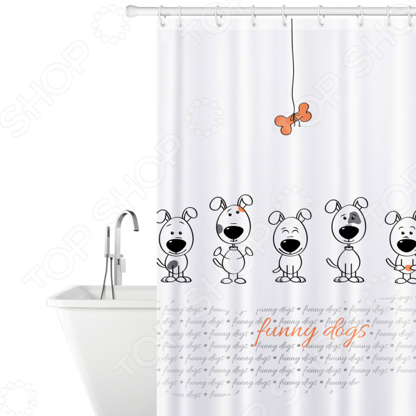 Штора для ванной Tatkraft Funny Dogs крючок двойной tatkraft mega lock на вакуумном шурупе