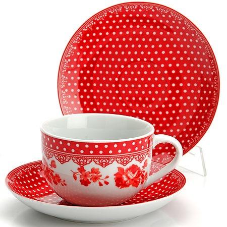 Купить Чайный сервиз Loraine LR-25907 «Горошек». Цвет: красный