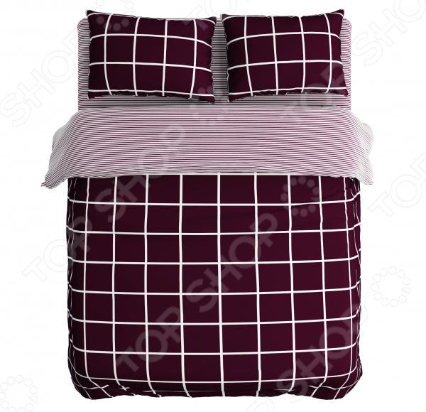 Комплект постельного белья Сирень «В квадратах». 1,5-спальный