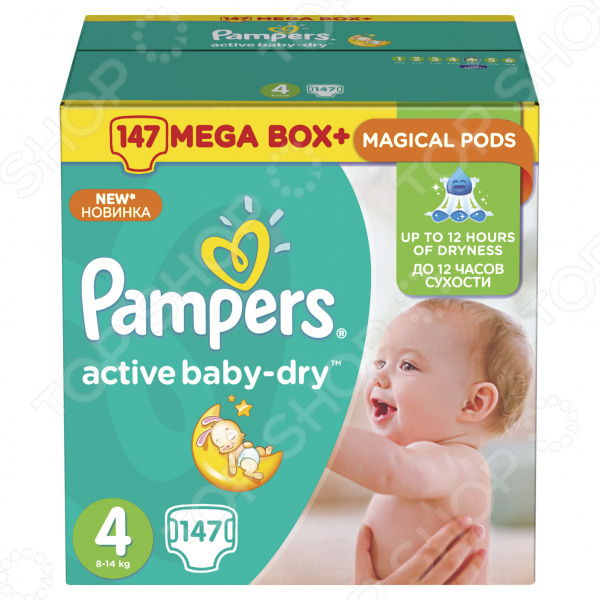 Подгузники Pampers Active Baby-Dry 8-14 кг, размер 4, 147 шт.