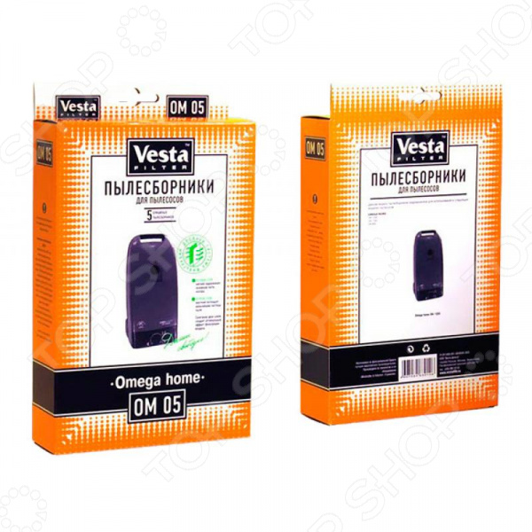 Комплект пылесборников Vesta filter OM 05 бумажные пылесборники vesta filter om 05 для пылесосов см описание 5 шт в упаковке