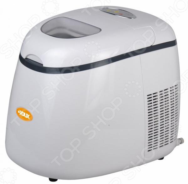 Генератор льда DUX DXZ-01 экономичное и компактное устройство, которое прекрасно подойдет для использования дома или на даче. Этот ледогенератор будет незаменим, если планируется устроить вечеринку с охлаждающими напитками и коктейлями. Также подойдет для использования при проведении вечеринок, праздников и банкетов. Производит пальчиковый лед 3 разных размеров. Емкость для хранения вмещает около 600 г готового продукта.  Главные особенности этой модели  За бесперебойную работу устройства отвечает высокоэффективный компрессор R134a.  Вода наливается в емкость объемом 1,8 л, что позволяет приготовить сразу достаточное количество льда для напитков.  Прочный и удобный корпус выполнен из пластика. Этот материал надолго сохраняет внешний вид и потребительские качества.  Стильный и продуманный дизайн смотрится лаконично, поэтому такой аппарат можно расположить даже на видном месте.  Предусмотрено звуковое предупреждение при переполненном резервуаре для льда или воды. Этот прибор отличается тихой работой и удивительной производительностью. Так, выходная мощность подачи льда составляет 12 кг в течение 24 часов. В отличие от классических формочек для льда, этот аппарат исключает растрескивание кубиков льда, а также впитывание посторонних запахов.