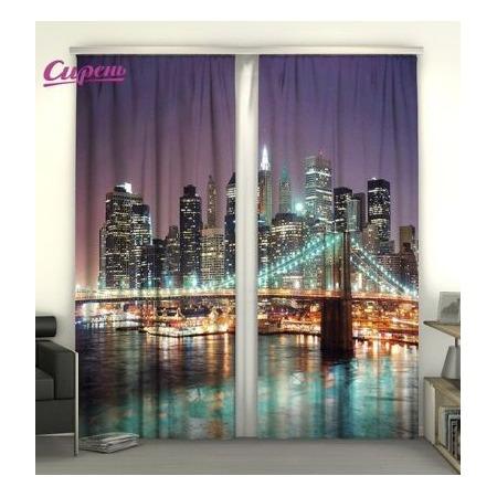 Купить Фотошторы Сирень «Панорама Нью-Йорка»