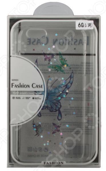 Чехол для iPhone 6/6S Plus с блестками «Бабочка синяя»