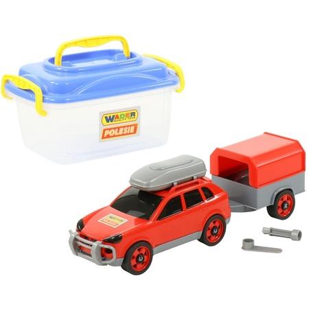 Купить Набор: машинка с конструктором Wader «Автомобиль легковой с прицепом»