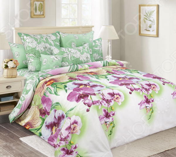 цена Комплект постельного белья Королевское Искушение «Мальдивы». Тип ткани: сатин онлайн в 2017 году