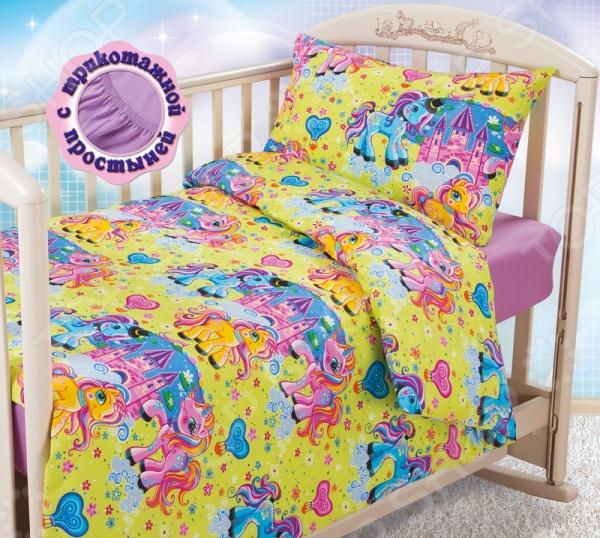 Ясельный комплект постельного белья Бамбино «Чудо-Пони» с трикотажной простыней