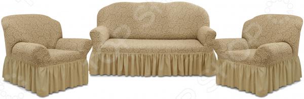 Натяжной чехол на трехместный диван и чехлы на два кресла Karbeltex «Престиж» 10029 с оборкой