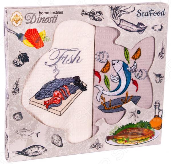 Комплект из 2-х кухонных полотенец Dinosti «Рыба» комплект из 3 х кухонных полотенец dinosti розовые хрюшки