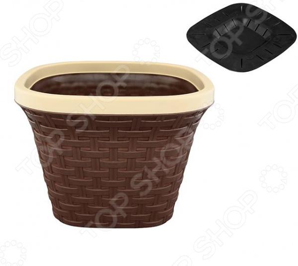 Кашпо квадратное с дренажем Violet «Ротанг». Цвет: коричневый