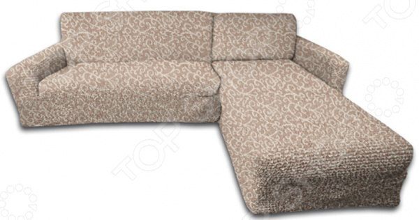 Натяжной чехол на угловой диван с выступом справа Еврочехол «Жаккард. Волны»