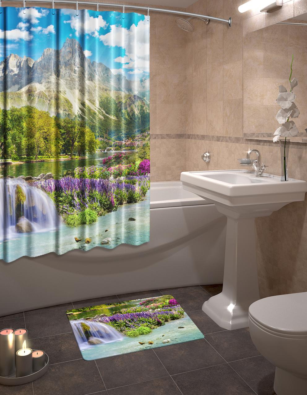 Набор для ванной комнаты: шторка и коврик ТамиТекс «Горный пейзаж»