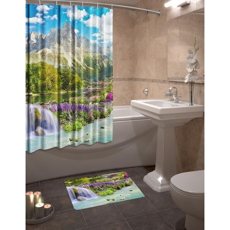 Купить Набор для ванной комнаты: шторка и коврик ТамиТекс «Горный пейзаж»