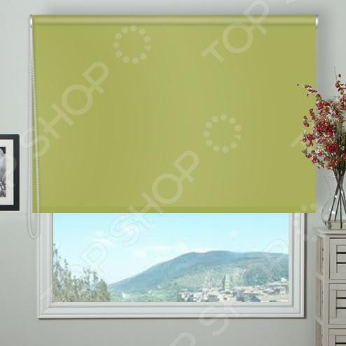 Рулонная штора блэкаут Эскар тканевая. Цвет: оливковый