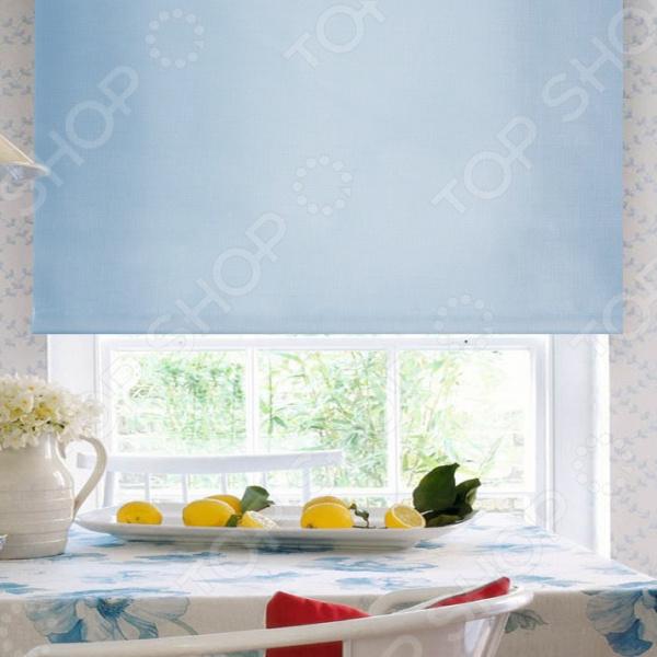 Рулонная штора Эскар однотонная. Цвет: голубой