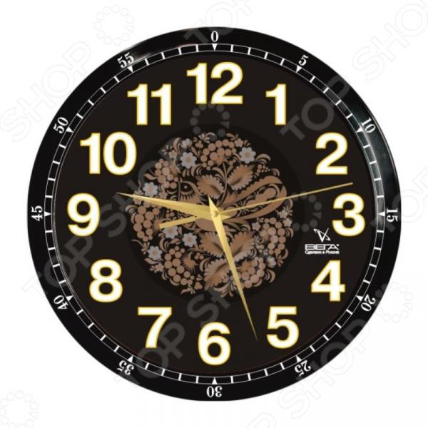 Часы настенные Вега П 1-6715/6-85 «Черная хохлома» часы вега п 1 8 6 208 мусульманские темный город