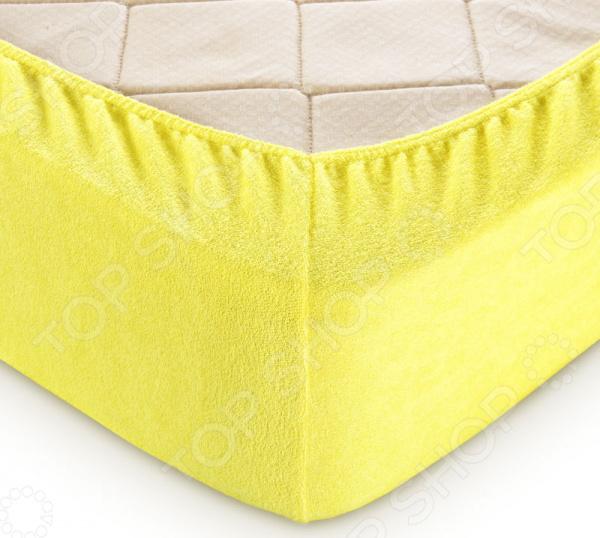 Простыня на резинке ТексДизайн махровая. Цвет: желтый