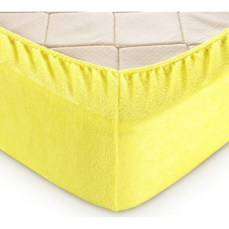 Купить Простыня на резинке ТексДизайн махровая. Цвет: желтый