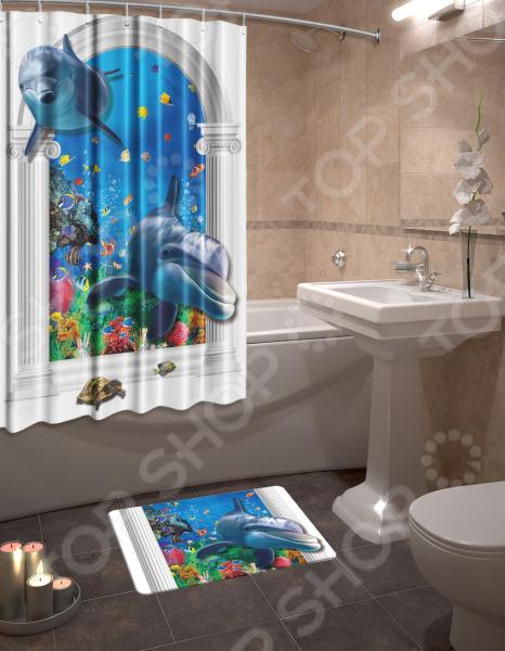 Набор для ванной комнаты: шторка и коврик ТамиТекс «Риф»