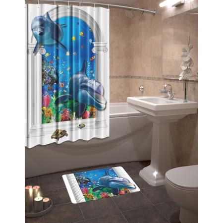 Купить Набор для ванной комнаты: шторка и коврик ТамиТекс «Риф»