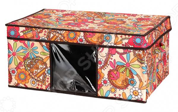 Кофр для хранения вещей EL Casa с яркими цветочными узорами, двумя ручками и прозрачным окном