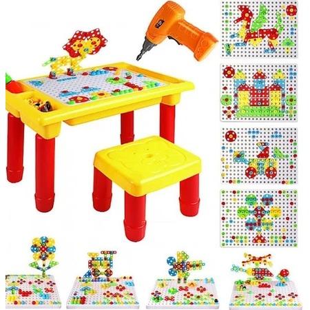 Купить Конструктор-мозаика с шуруповертом и столом Ricotio Creative Learning Table. Количество деталей: 263 шт