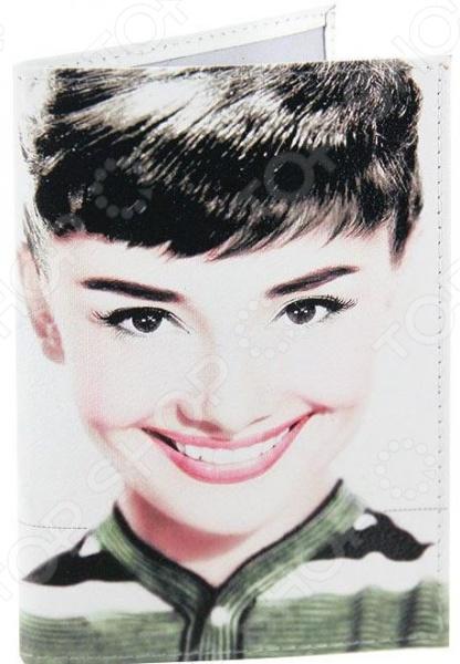Обложка для автодокументов кожаная Mitya Veselkov «Одри улыбается»