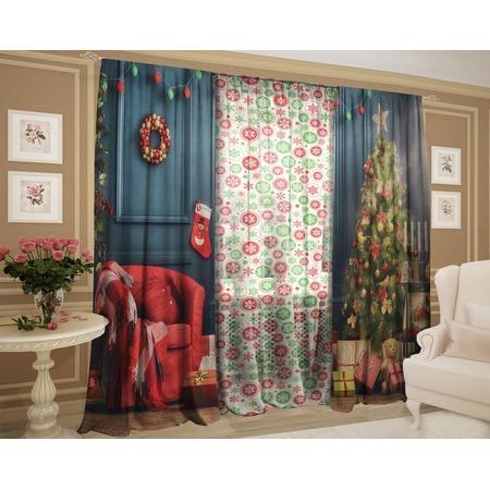Купить Комплект: шторы и тюль ТамиТекс «Рождественский декор»