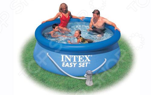 Бассейн надувной и фильтр-насос Intex Easy Set тент intex для надувного бассейна easy set 244см 28020