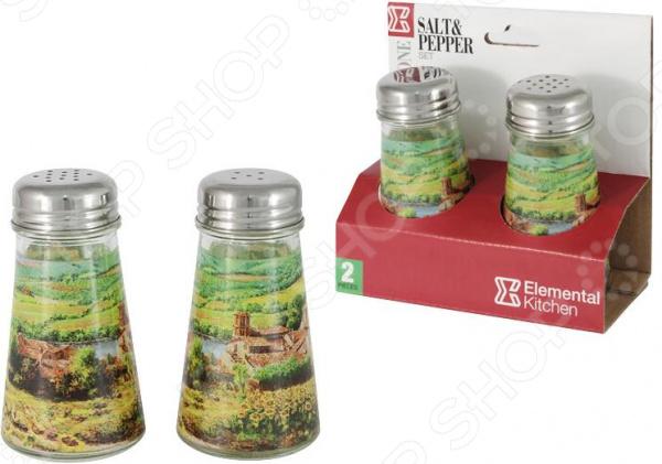 Солонка и перечница Sinoglass «Подсолнухи Тосканы» банка для сыпучих продуктов sinoglass подсолнухи тосканы большая