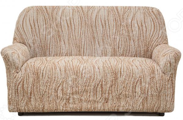 Натяжной чехол на двухместный диван Еврочехол «Виста. Элегант Крем»