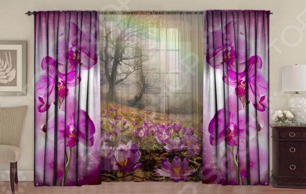 Комплект фотоштор с тюлем ТамиТекс «Сиреневая пелена»